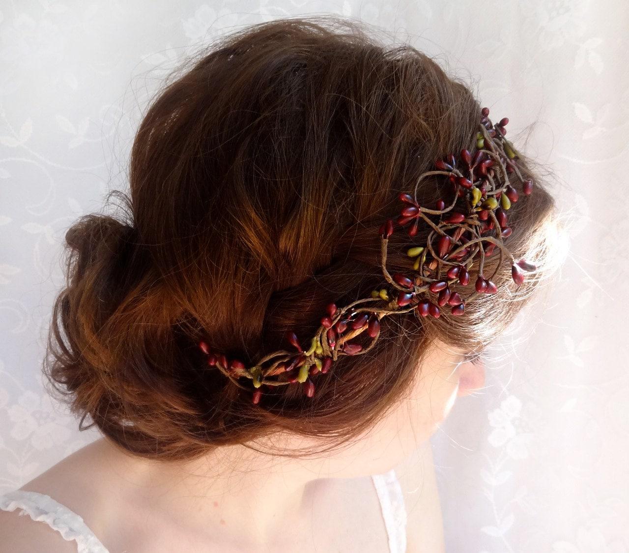 Items Similar To Burgundy Bridal Hair Accessories Dark Red Rustic Wedding Flower Wreath Fall