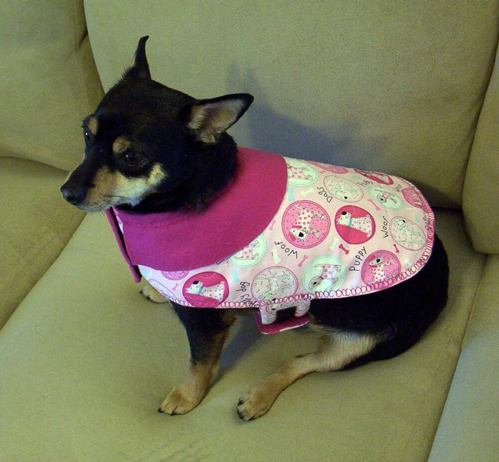 Non-Profit - The Peanut Collection presents Extra Small XS Dog Jacket Coat Pink Spotty Dogs in Rounds - Charity Donation to Animal Rescue