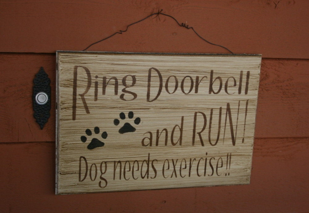 Funny Dog Sign Wooden Front Door Sign