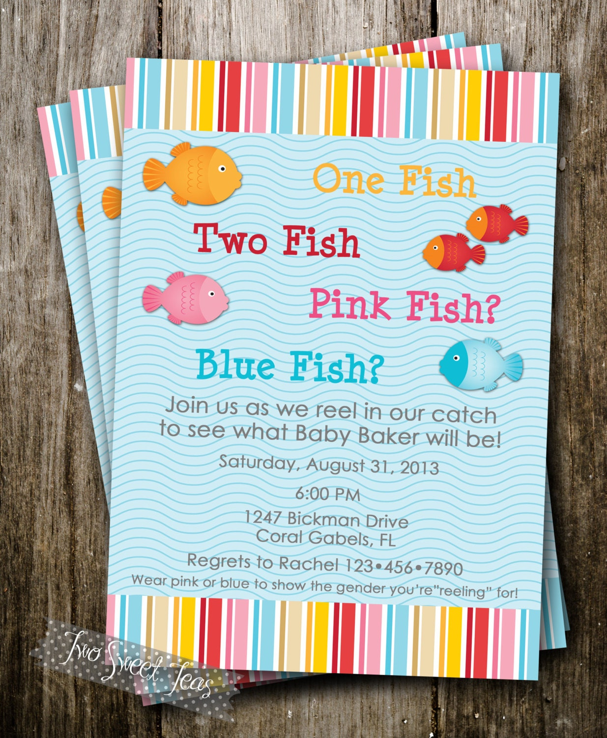 One fish two fish gender reveal invitation digital by for Fishing gender reveal
