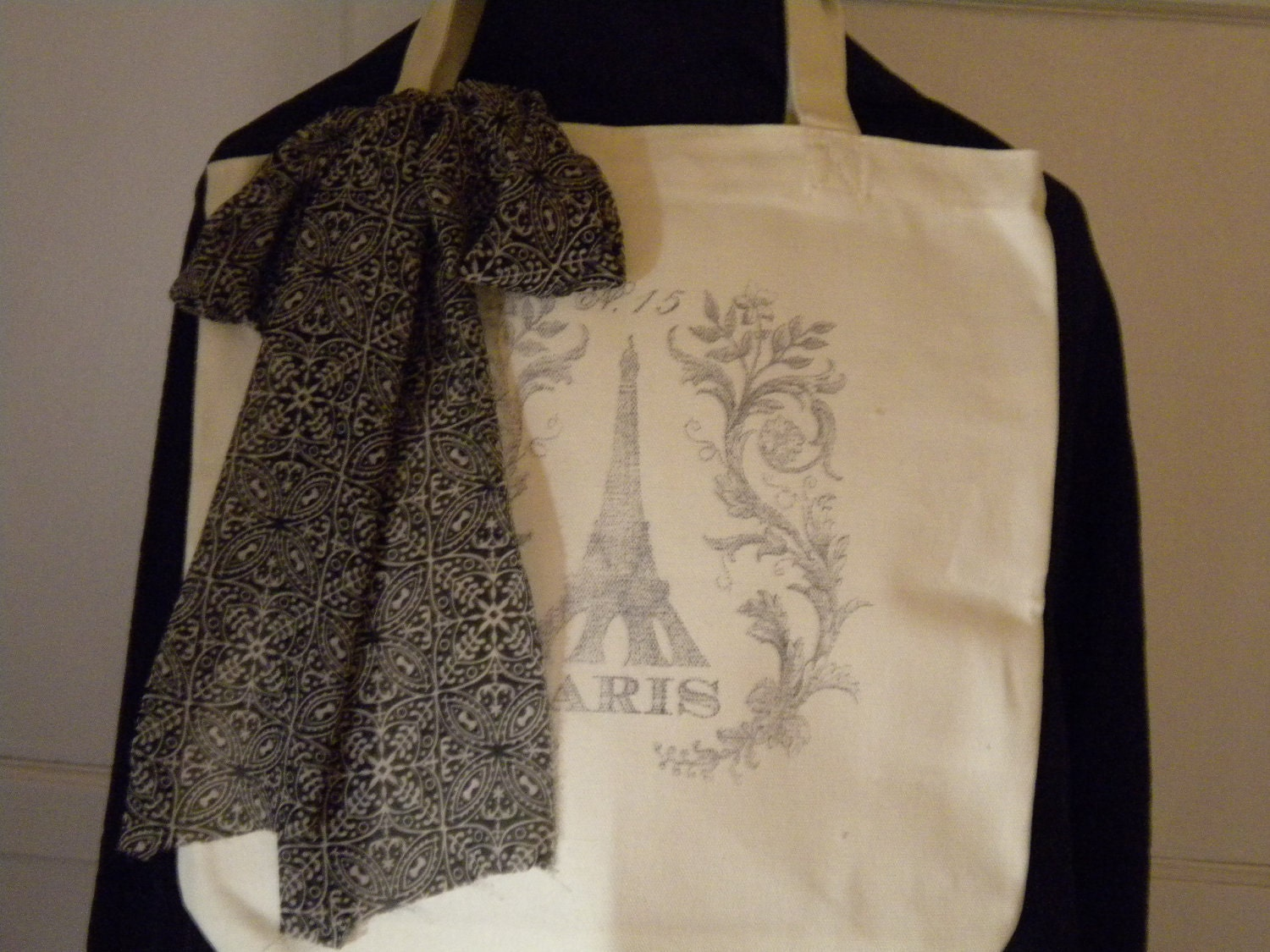 Canvas Tote With Eiffel Tower