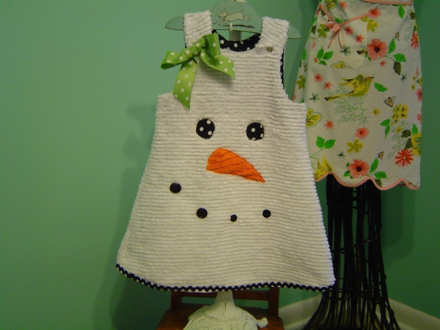 NEWBORN SIZE ONLY-Let it snow let it snow-Boutique Holiday Winter Chenille Snowman Dress