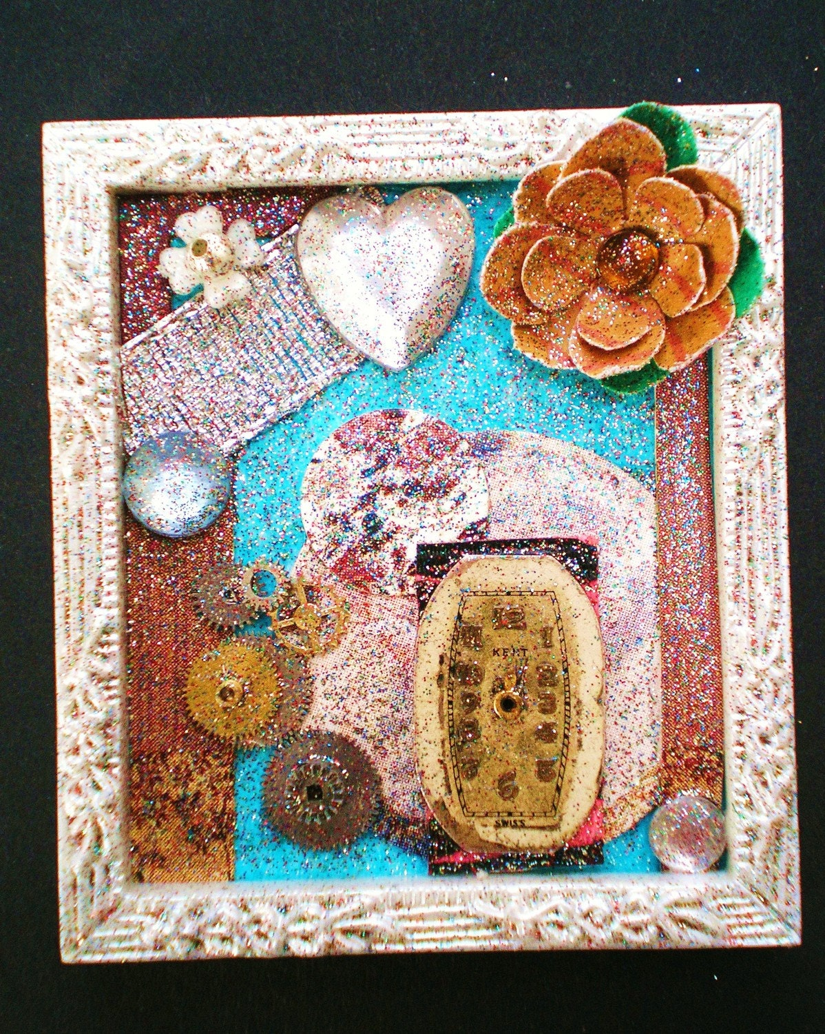 All My Days - Tiny Collage Mixed Media OOAK Framed Signed with Jewels Paper Flower Rhinestone Heart Ribbon Watch Parts