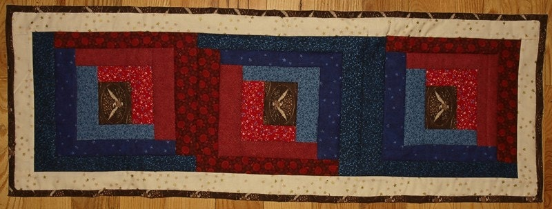 Patriotic Log Cabin Table Runner