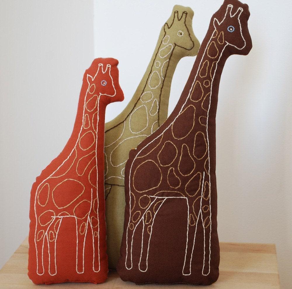 giraffe pillow in rust