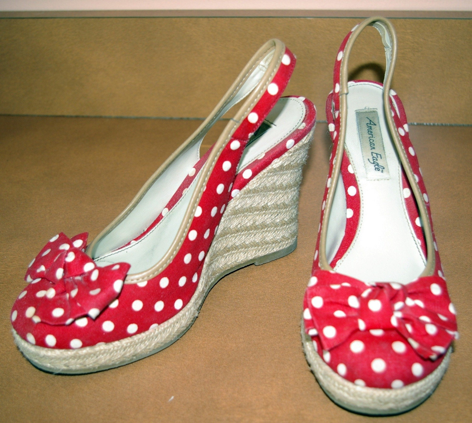 vintage and white polka dot wedge shoes by bettysworld4u