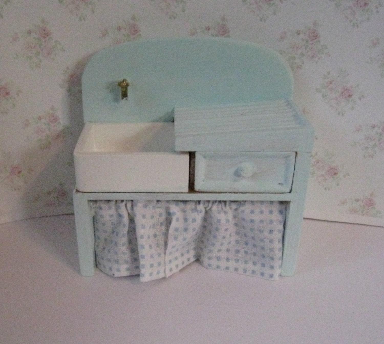 Dollhouse Kitchen sinkpale blue sink mini sink   country sink stone sink kitachen sink twelfth scale dollhouse miniature