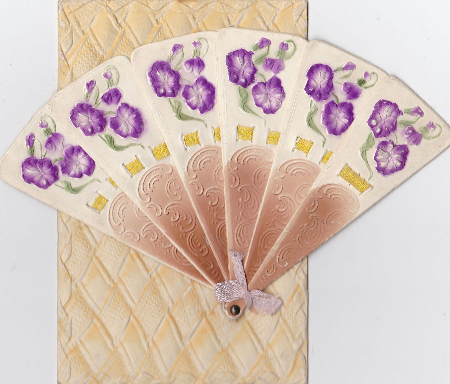 Antique Postcard Moveable Fan Themed Unused Embossed Early 1900s (fpc284)