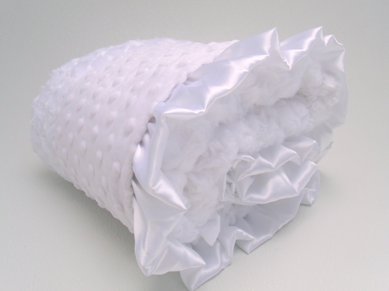 All White Minky Baby Blanket - Silver Swirl Minky - MinkyBabyGifts