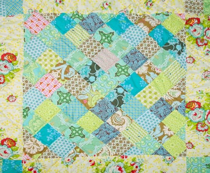 Custom personalised modern vintage patchwork baby crib quilt