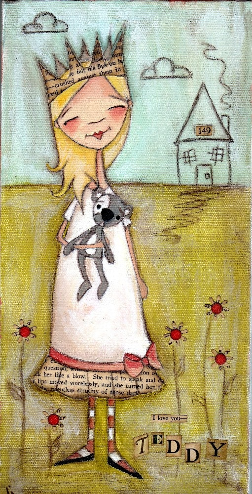 PRINT Of my original folk art painting - First Love - Duda Daze