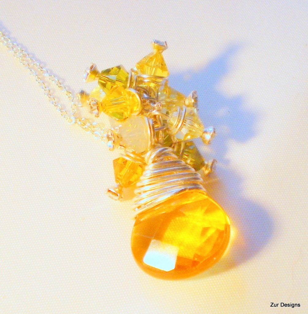 Bright Sun Shining Day Faceted Teardrop Wire Wrapped Necklace