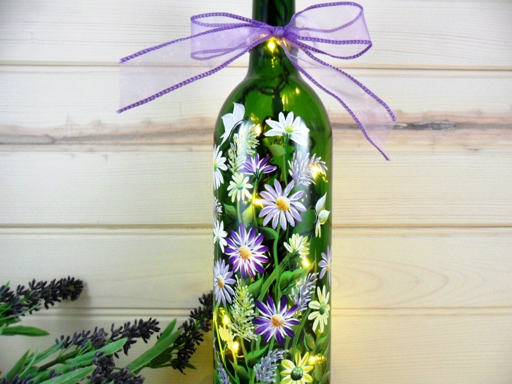 Lighted wine bottle hand painted flower by paintingbyelaine for Painting flowers on wine bottles