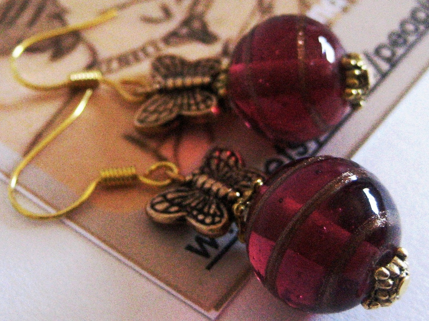 Gold/Red Butterflies Earrings