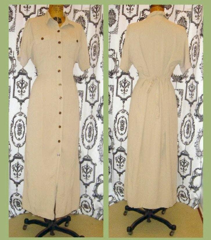 vintage 80's Diane Von Furstenberg Safari Button-up Shirt Dress