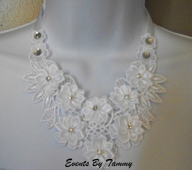White Floral Venise Lace Bib Necklace With 3D Ribbon Roses and Rhinestones