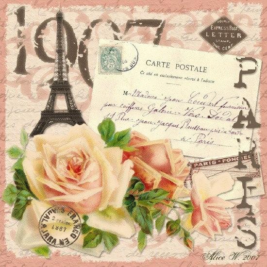 Vintage paris mixed media digital collage zne