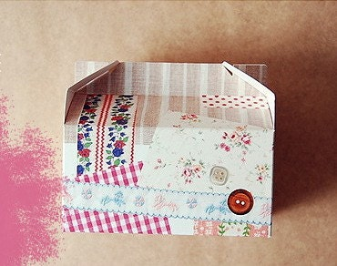 2 patchwork House Boxes - 120mm x 140mm x 80mm