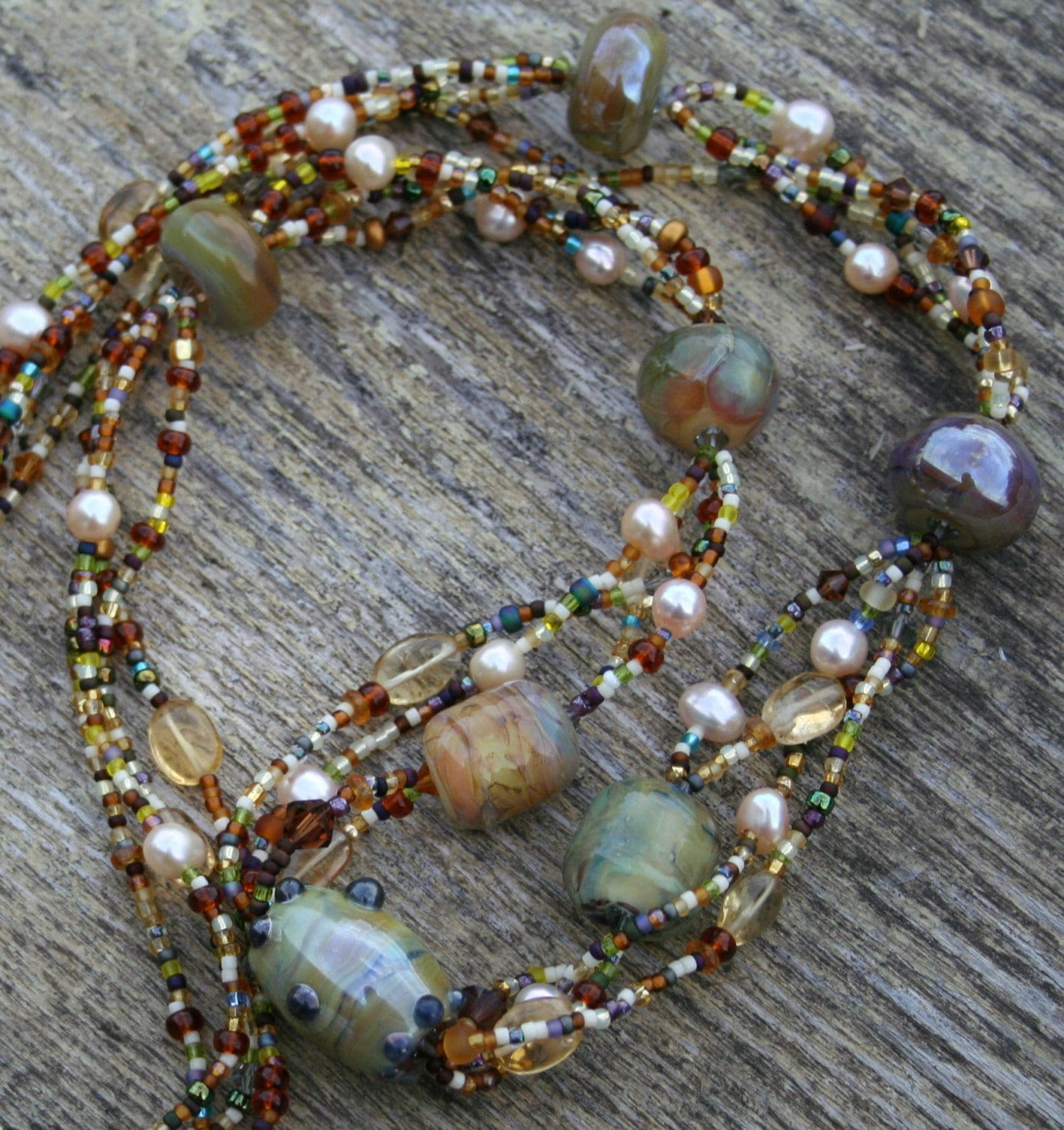 Earth Angel Lampwork Bead Necklace