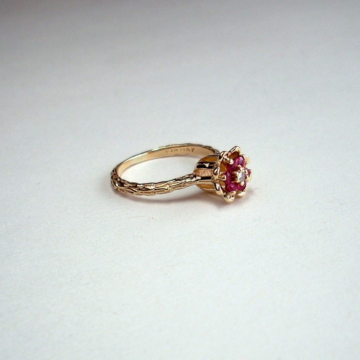 Gold dainty engagement ring