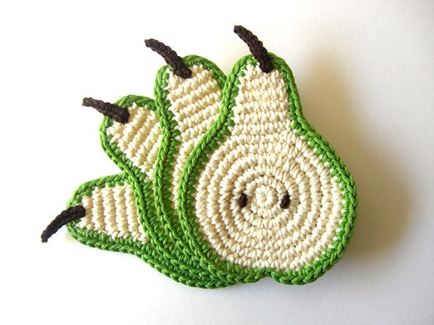 Green Pear Slice Coasters . As Featured on Mollie Makes Magazine. Decor Crochet Fruit Collection - Set of 4