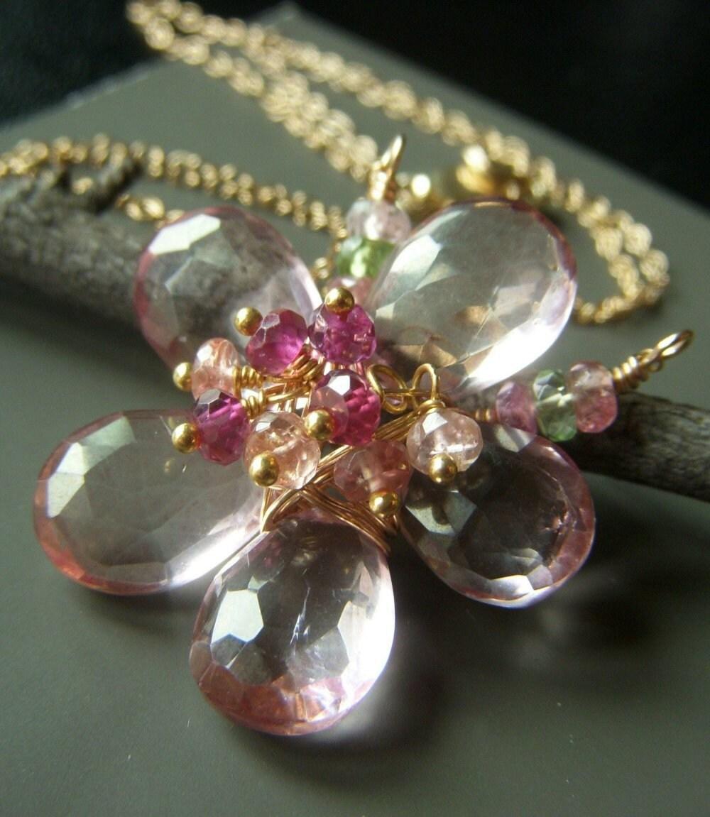 Bloom . Mystic Quartz Floral Pendant Necklace on Goldfill