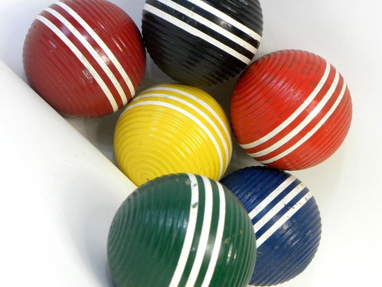 Six  Wooden Croquet Balls