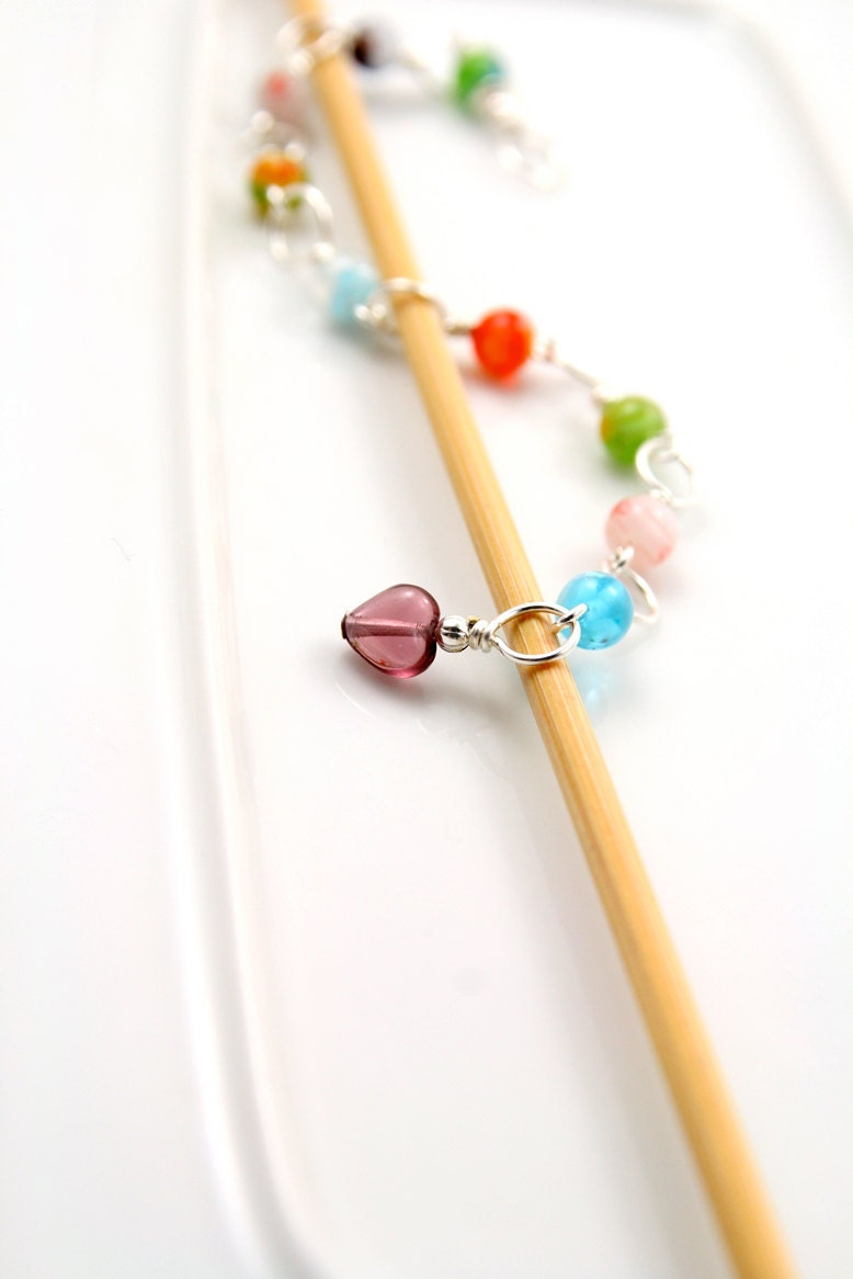 Knitting Needle Row Counters : Tiny Colored Jewels- Knitting Row Counter- Up to size 3 US needle