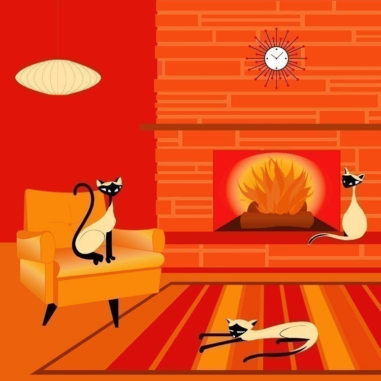 Fire Cats - Siamese Cats Modern Art Print by Kerry Beary - Giclee
