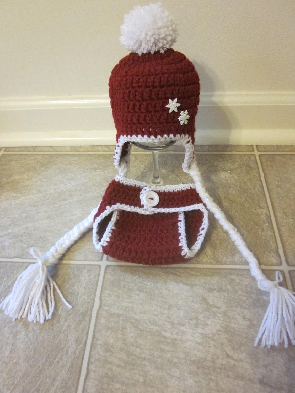 Newborn Santa Baby Hat/Diaper Cover Set