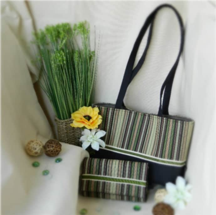 Daisy and Keira Combo in moss green, light brown, beige, orange and black - ready to ship