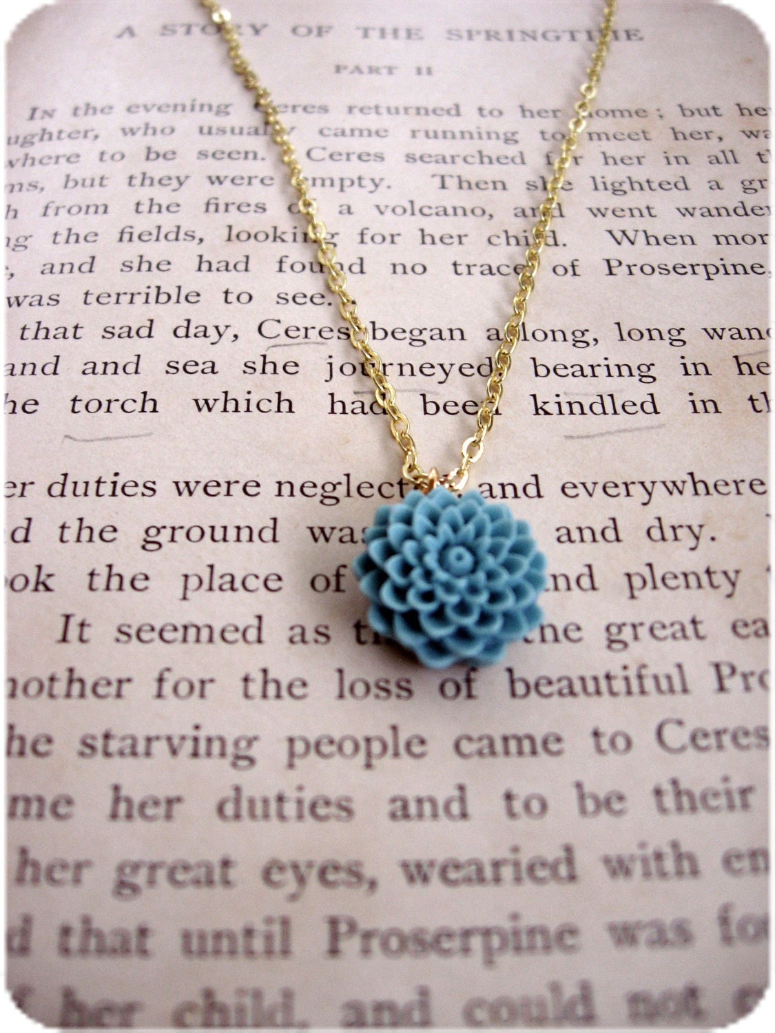 The Lenora Rustic Blue Delicate Flower Necklace