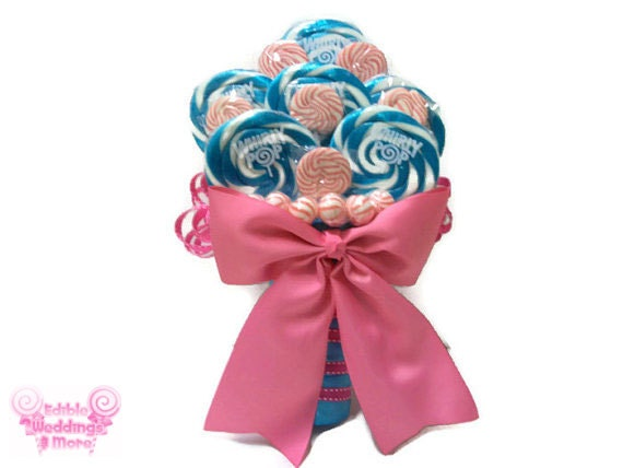 Pink And Blue Lollipop Bridal Bouquet Candy By EdibleWeddings