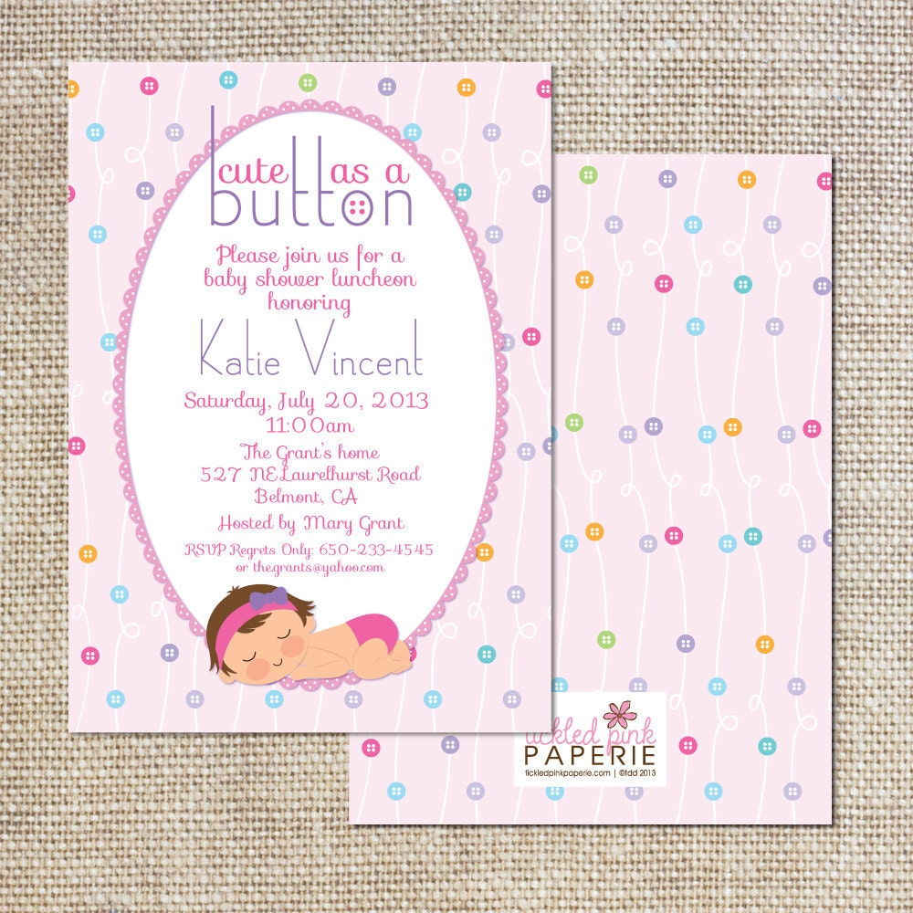 baby shower invitation cute as a button by tickledpinkpaperie