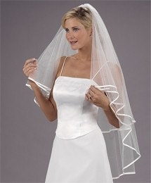 VEIL 1/4 inch Satin Trim DIAMOND WHITE 2 Tier 30X42 wedding bridal Center Gathered - Butterfly Style vail