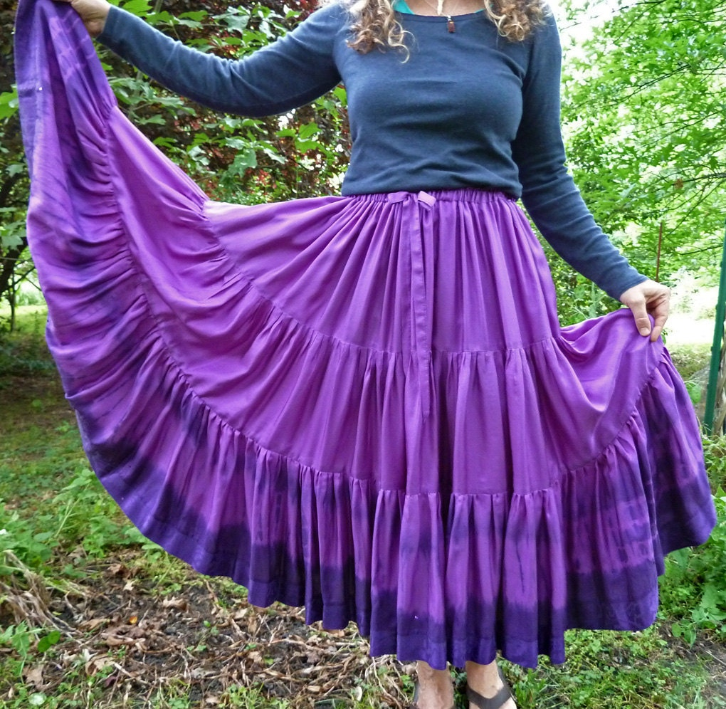 Gypsy Full Circle Purple Skirt, Handmade and Dyed, with Shibori