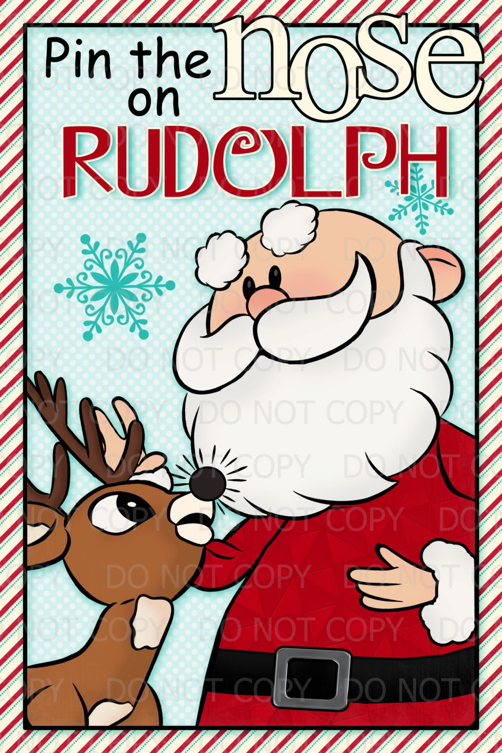 Printable DIY Pin the Nose on Rudolph with Santa Party Poster Game 20 ...