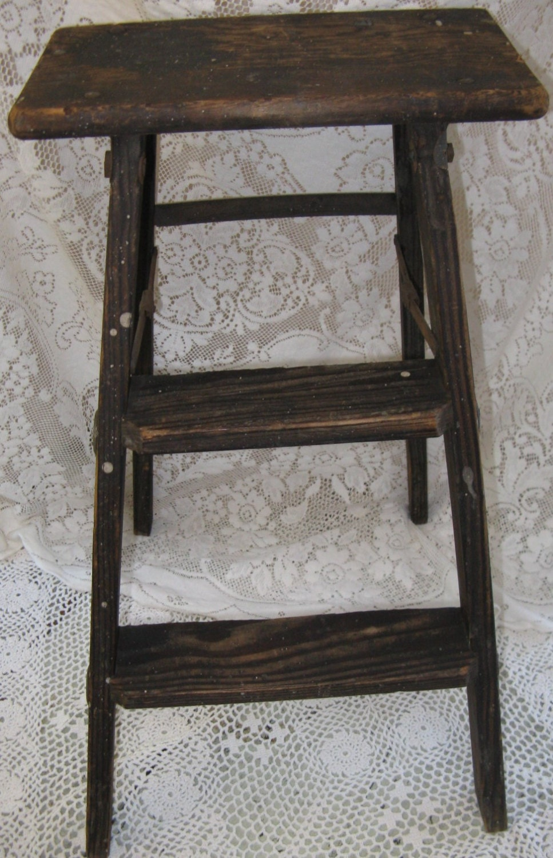 Rustic Wooden Step Ladder Oak Stool Dark Wood By