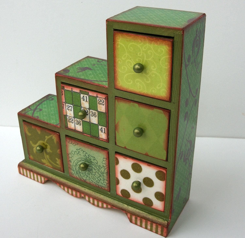 Green  Asymmetrical Six Drawer Trinket Box