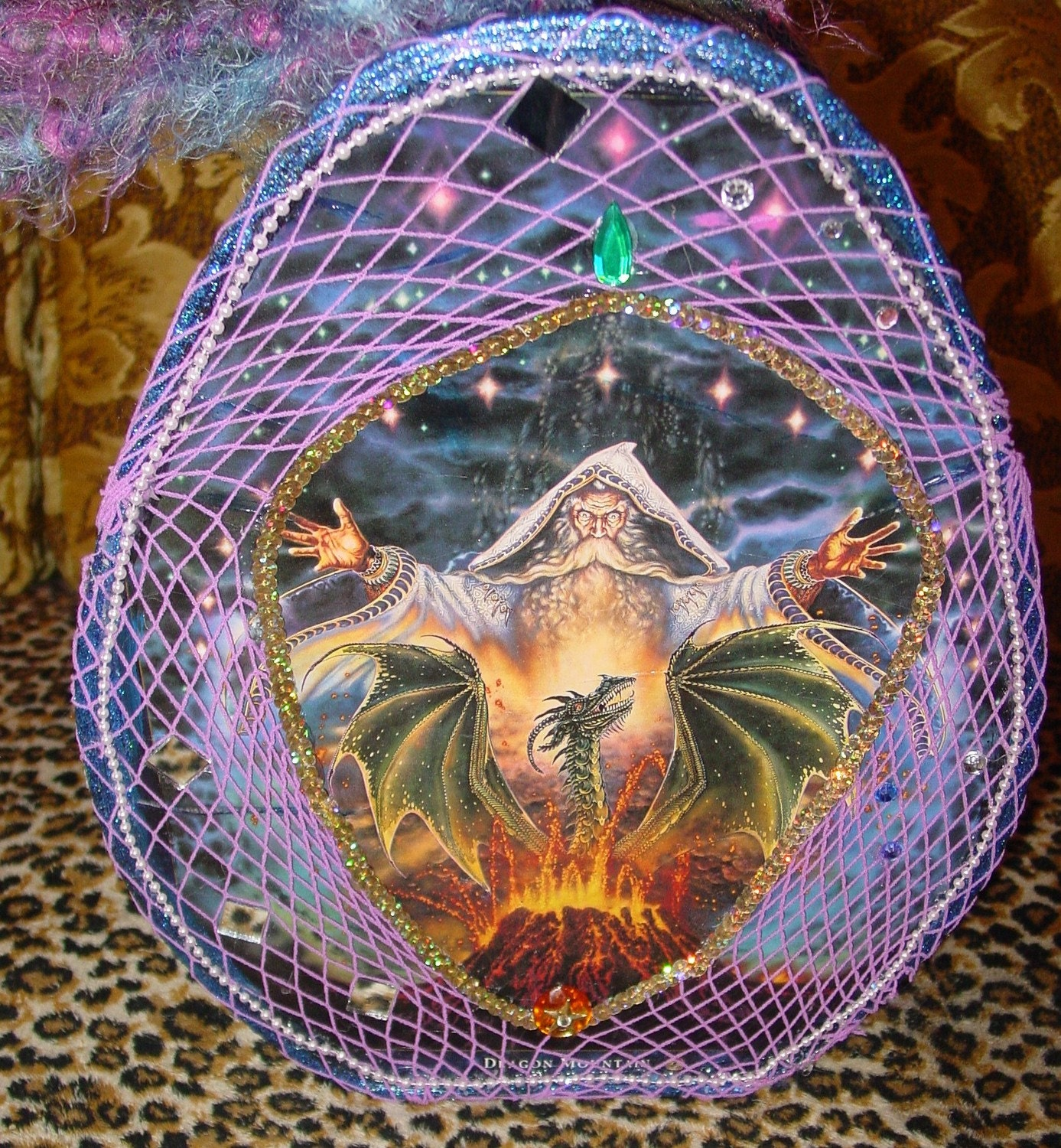Magic FERTILITY  egg traveling bag for tarot cards with wizard and dragons