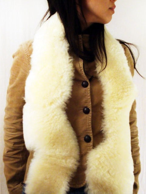 Treasury Item - Cream Sheepskin Meandering Scarf, Repurposed