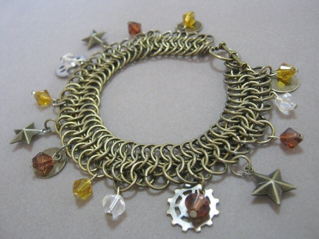 Steam Charm Bracelet Beaded Chainmaille Cuff OOK
