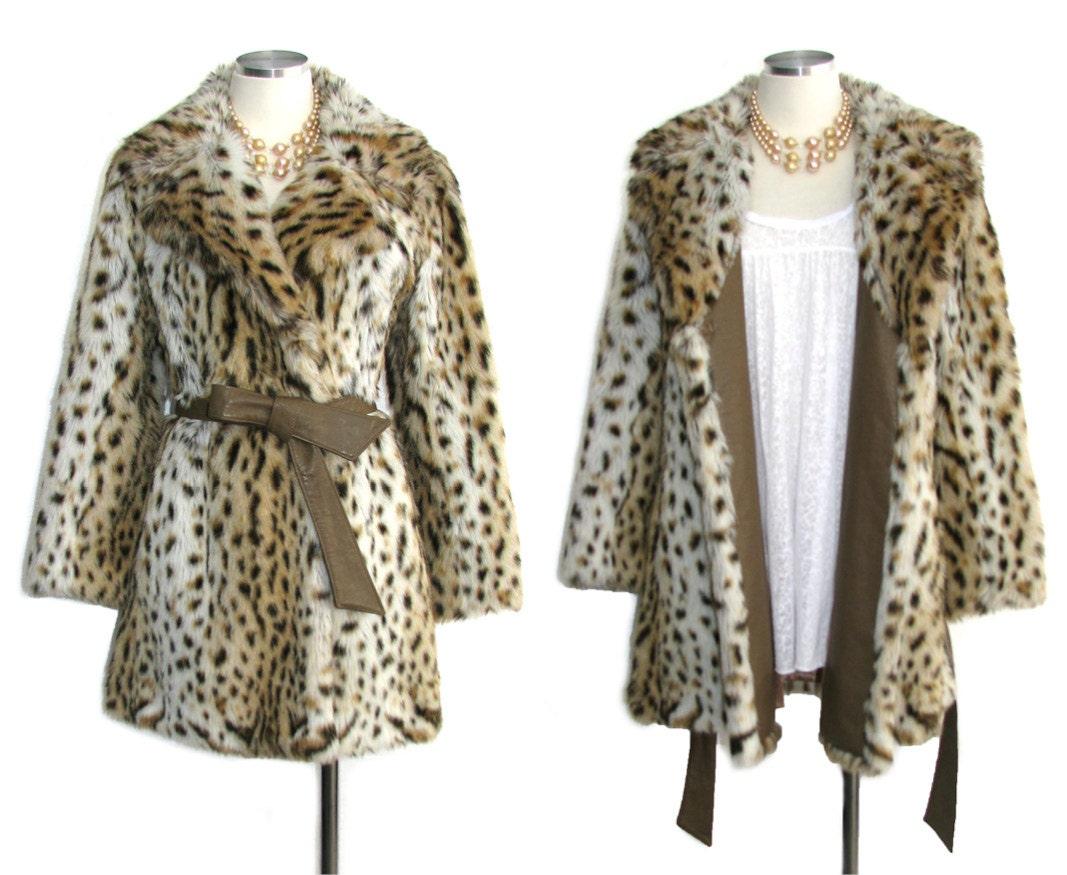 anni 70 cappotto di pelliccia di leopardo / Vintage anni ' 70 cappotto / giacca di pelliccia / cinghia di cuoio e Trim / Hollywood Hipster / Pinup / VLV / Rockabliiy / taglia S