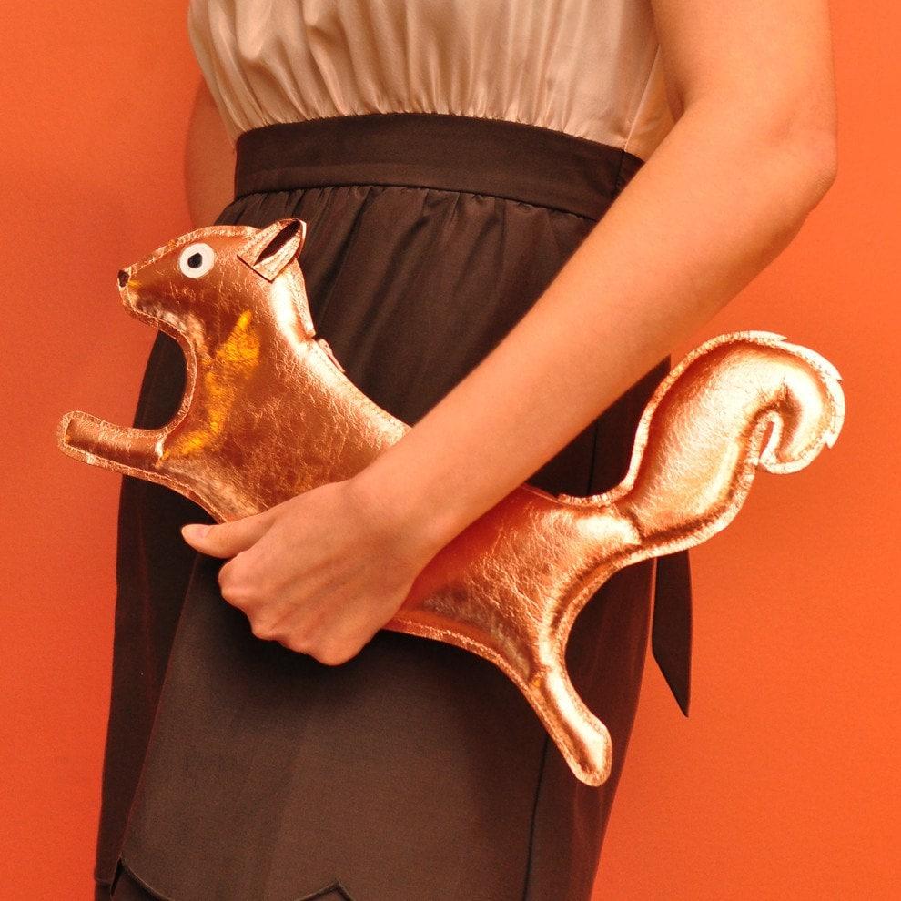 Orwell Clutch - Penny Copper Squirrel Purse