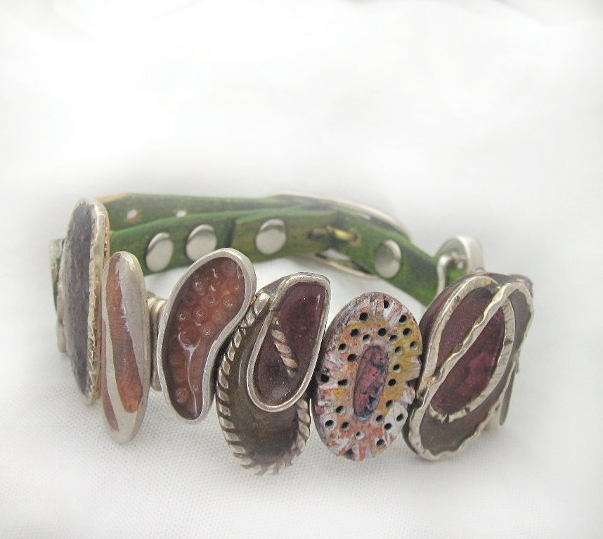 Colorful Metal resin inlay and leather handmade strap bracelet