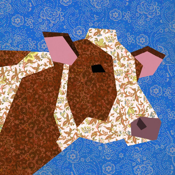 Cow Paper Pieced Quilt Block Pattern Pdf By Bubblestitch