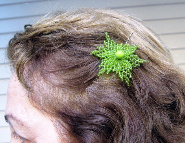 Beautiful Bobby Pin with Beadwork  Lime Green Flower by nezjewelry from etsy.com
