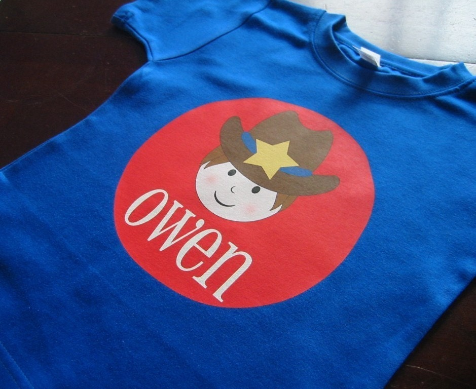 Personalized BOY COWBOY Baby Bodysuit or Toddler Tee - Available in various colors and sizes