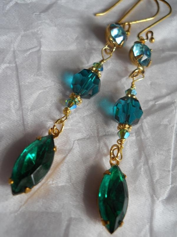 Mer Turquoise ocean blue teal rhinestone 24k gold vermeil emerald crystal long earrings