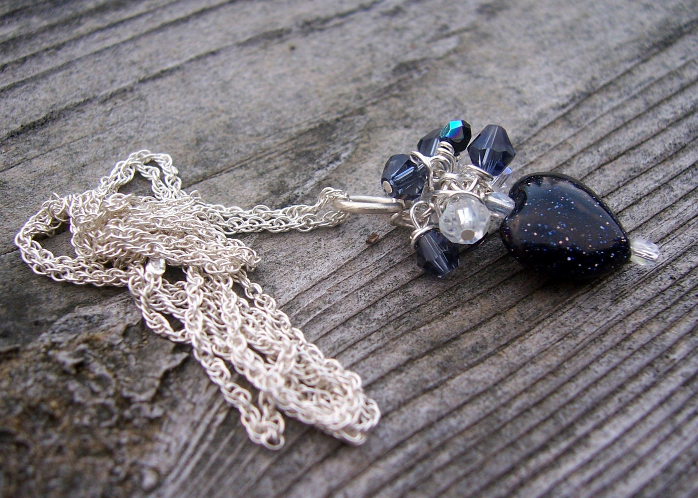 Blue goldstone heart  and crystal necklace